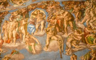 a michelangelo fresco at the sistine chapel in rome italy