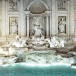 the trevi fountain at night in rome italy